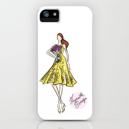 """Hayworth Design Fashion Illustration """"Fashionable Girl in Yellow Dress with Flowers"""" iPhone Case"""