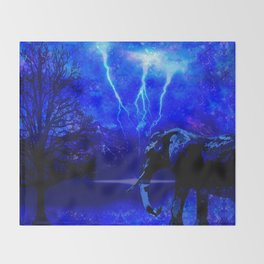 ELEPHANT LIGHTNING AND AFRICAN NIGHTS Throw Blanket