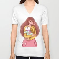 bee and puppycat V-neck T-shirts featuring Bee and Puppycat by MW Illustration
