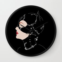 Catwoman in Black Wall Clock