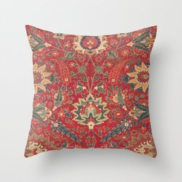 Indian Trellis I // 17th Century Ornate Medallion Red Blue Green Flowers Leaf Colorful Rug Pattern Throw Pillow