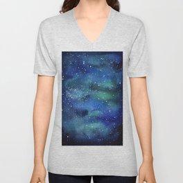 Galaxy Space Sky Watercolor Cosmic Art Unisex V-Neck