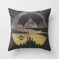 bat Throw Pillows featuring Bat by Kody Christian