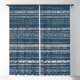 Moroccan Stripe - Blue Blackout Curtain