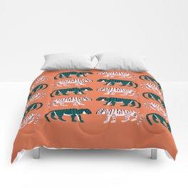 Orange, Blush & Green Tigers Comforters