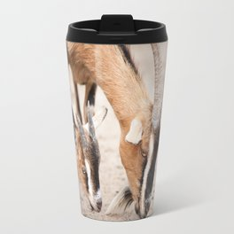 domesticated goats eating from sand Travel Mug