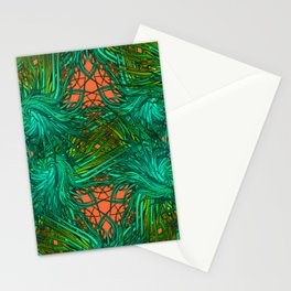 greenery and orange pattern Stationery Cards
