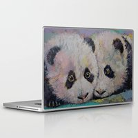 pandas Laptop & iPad Skins featuring Baby Pandas by Michael Creese