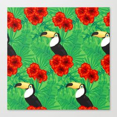 Tropical pattern with toucan and  tropical leaves Canvas Print