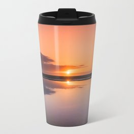 Mindfulness in the Sunrise Reflection at Mediterranean Sea in Valencia, Spain Travel Mug