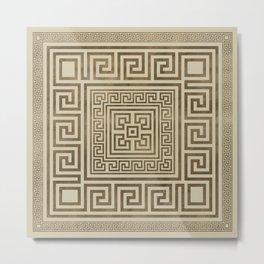 Greek Key Ornament - Greek Meander - Pastel Gold Metal Print
