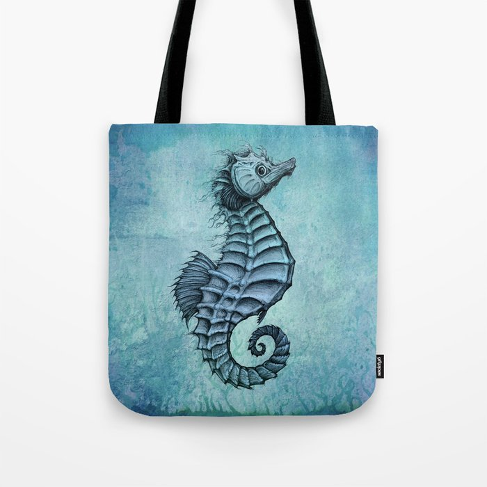 """Seahorse II"" by Amber Marine ~ Ink and Watercolor Art, (Copyright 2016) Tote Bag"