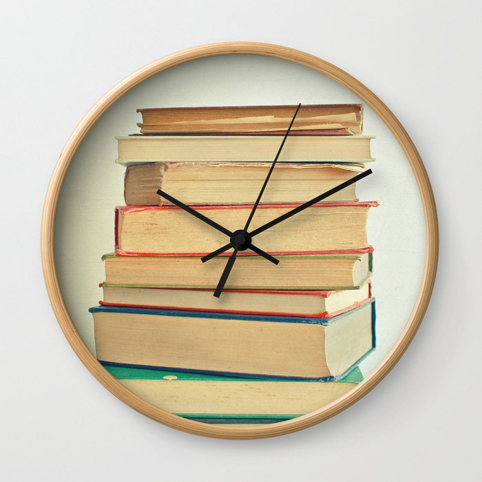 Stack of Books Wall Clock