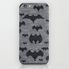 Balinese Bat Colony Print - Gray iPhone Case