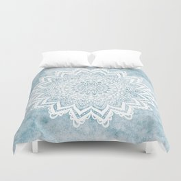 LIGHT BLUE MANDALA SAVANAH Duvet Cover
