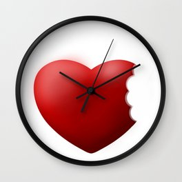 bited red Love Heart nibble Wall Clock