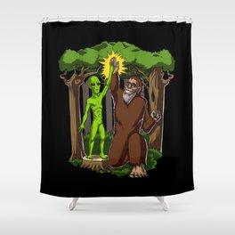 Alien Bigfoot Funny Fantasy Conspiracy Shower Curtain