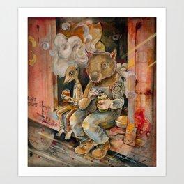 Meerkat and Wombat Art Print