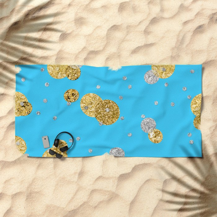 Glittery Dream-Gold Diamond Glitter Polkadots on aqua teal background Beach Towel