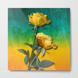 Gold Roses & Vibrant Watercolor Metal Print