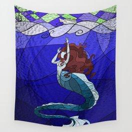 Primeval Mermaid (blue) Wall Tapestry