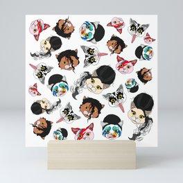 Pop Cats - Pattern on White Mini Art Print