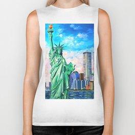NYC, WTC, Twin Towers, Statue of Liberty Biker Tank
