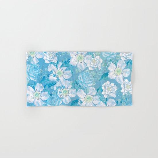 Blue Vintage Rose Pattern Hand & Bath Towel