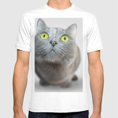 The Cat's Stare Mens Fitted Tee White MEDIUM