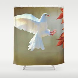 Fascinating Wonderful White Bird Of Peace Flapping Zoom UHD Shower Curtain