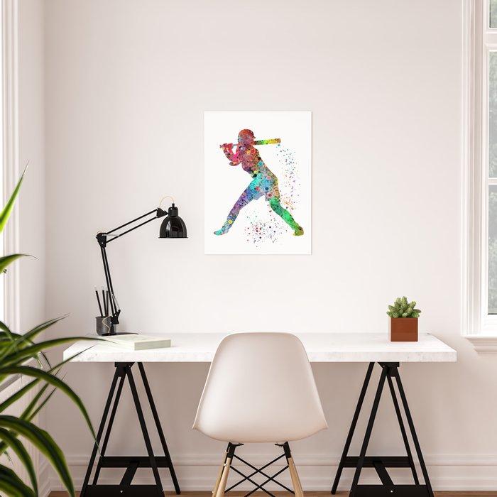 Baseball Softball Player Sports Art Print Watercolor Print Girl's softball Poster