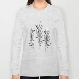Eucalyptus Branches Black And White Long Sleeve T-shirt