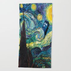 Tardis Starry Night Beach Towel