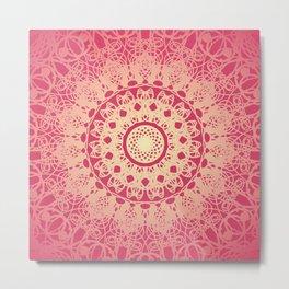Boho Chic Mandala Flower Pink Cream Metal Print
