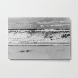 Beach North Sea Waves Denmark Hvide Sande bw Metal Print