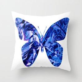 Fluid Butterfly (Blue Version) Throw Pillow