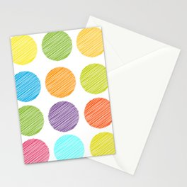 rainbow color Polka dot background. scribble dot on white Stationery Cards