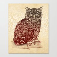 ornate Canvas Prints featuring Most Ornate Owl by Rachel Caldwell