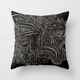 Black and White Graffiti Art Tribal  Throw Pillow