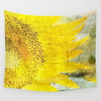 sunflower Wall Tapestries featuring Sunflower by Maria Heyens