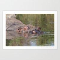 Hippo in the lake, Serengeti national park, Tanzania Art Print