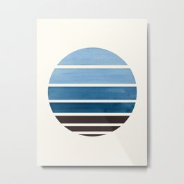 Blue Green Mid Century Modern Minimalist Circle Round Photo Staggered Sunset Geometric Stripe Design Metal Print