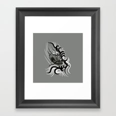 Dragon in Tattoostyle , black - white and grey Design Framed Art Print