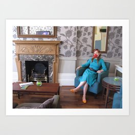 In or Out with Parakeets - hotel visit Art Print
