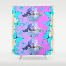 LILAC-PURPLE BLUE BUTTERFLIES MODERN ART Shower Curtain