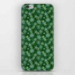 Festive Snowflakes in Green and Gold iPhone Skin