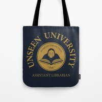 discworld Tote Bags featuring Assistant Librarian by vonplatypus