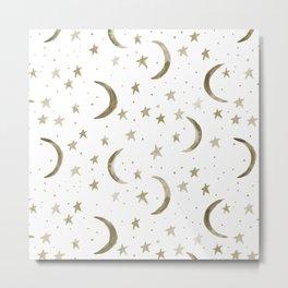 Boho moons and stars - watercolor sweet dreams Metal Print