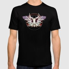 Deer And Crow Skulls Double Image Mens Fitted Tee Black X-LARGE