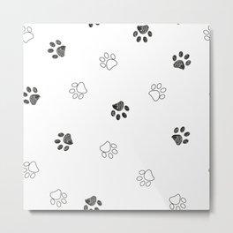 Black and white paw print pattern Metal Print